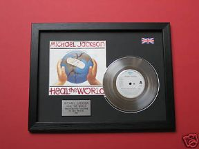 "MICHAEL JACKSON - Heal The World 7"" Platinum DISC with cover"